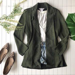 Misook cardigan green striped sweater black